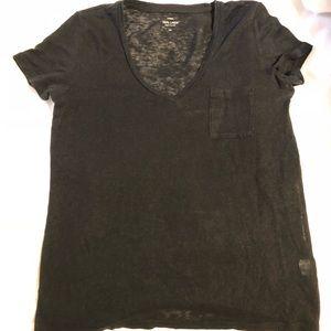 JCrew Black linen v neck t shirt. Semi sheer.